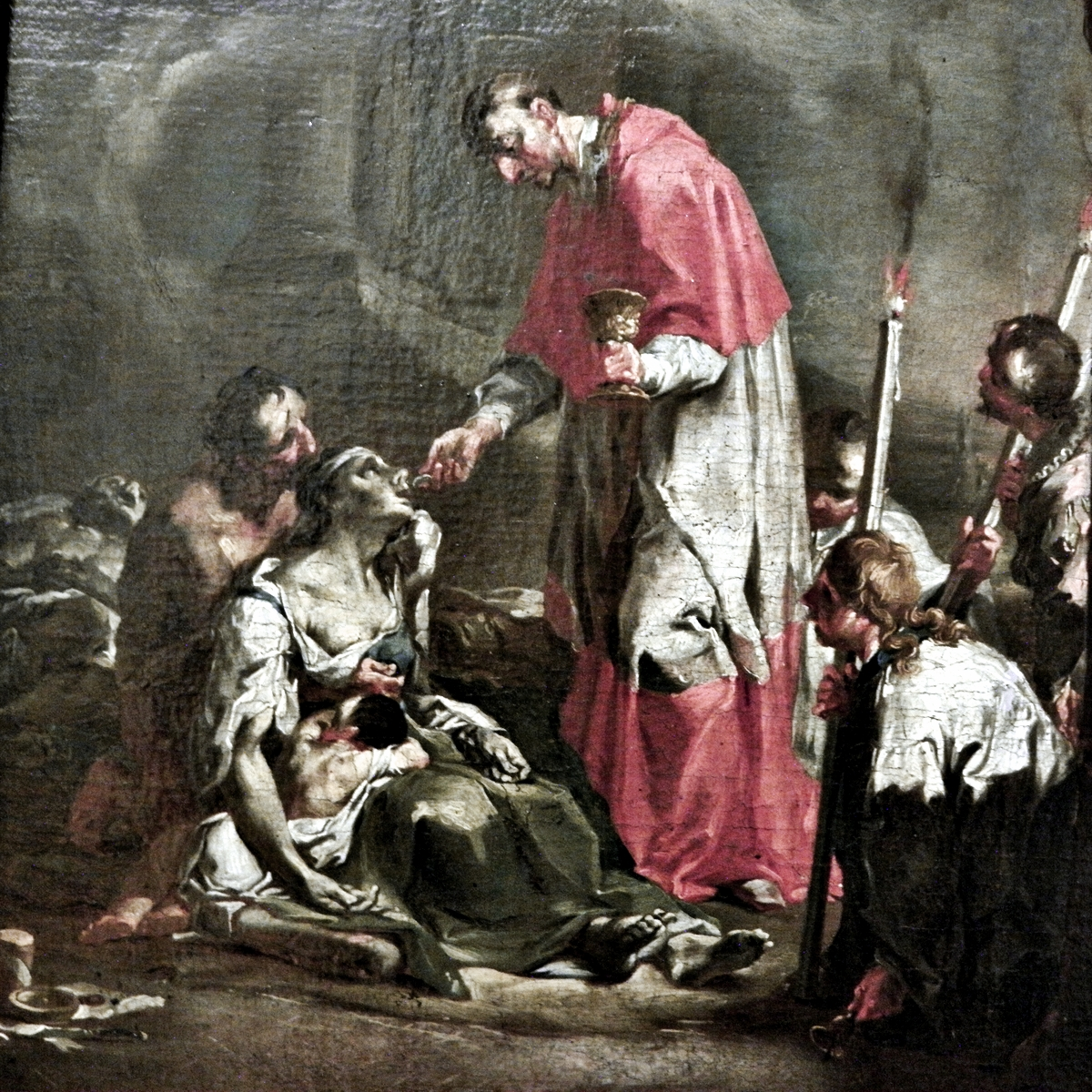 Caspar Franz Sambach:  'St. Charles Borromeo ministering Holy Communion to the dying during the 1576 plague epidemic in Milan', 1751 (detail) National Museum in Wroclaw, Poland  Saint Charles Borromeo, the patron saint of plague victims, pray for us.