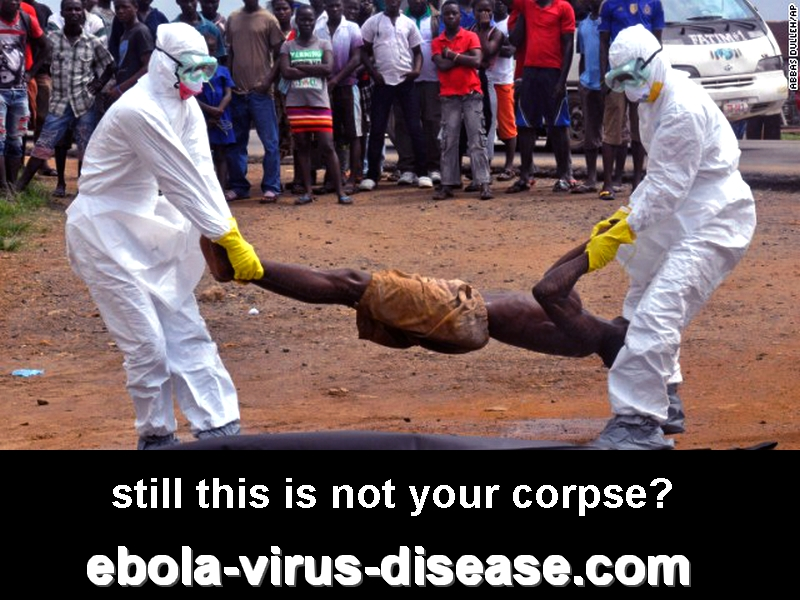 Health workers in Monrovia place a corpse into a body bag on September 4 (originally AP) still this is not your corpse? ebola-virus-disease.com