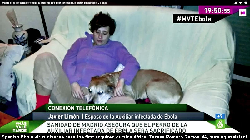 Spanish Ebola virus disease case the first acquired outside Africa, Teresa Romero Ramos, 44, nursing assistant